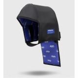 Maskenhaube aus Leder mit Hinterkopf- und Nackenschutz, mit integrierter Kunststoffplatte