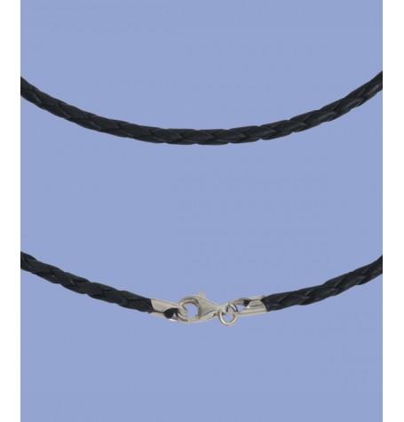 Lederband 2mm, 45cm, mit Silberverschluss