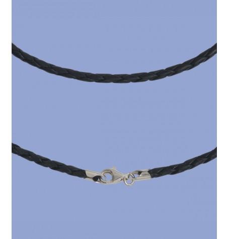 Lederband 2mm, 50cm, mit Silberverschluss
