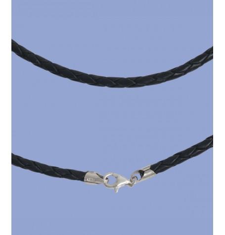 Lederband 3mm, 45cm, mit Silberverschluss