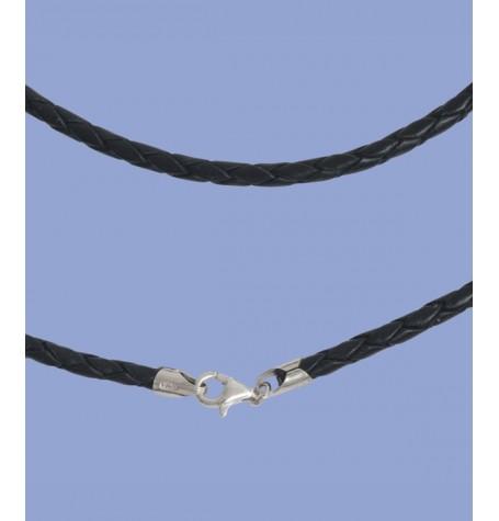 Lederband 3mm, 50cm, mit Silberverschluss