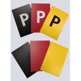 Schiedsrichterkarten 3er-Satz, 8cmx12cmx3mm (rot/gelb/schwarz)